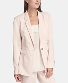 DKNY One-Button Zigzag-Twill Jacket
