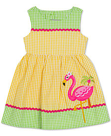 Rare Editions Baby Girls Flamingo Gingham Seersucker Dress