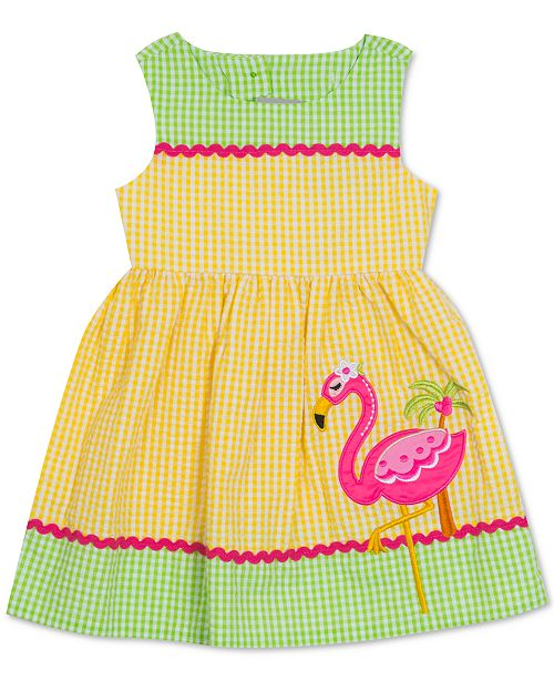 Rare Editions Baby Girls Flamingo Gingham Seersucker Dress