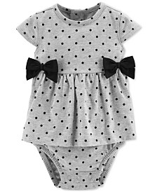 Carter's Baby Girls Dot-Print Bow Cotton Sunsuit