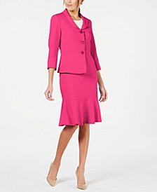 Three-Button Flared-Hem Skirt Suit
