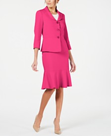 Le Suit Three-Button Flared-Hem Skirt Suit