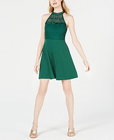 Lace-Neck Fit & Flare Dress