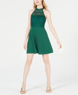 Image of 19 Cooper Lace-Neck Fit & Flare Dress