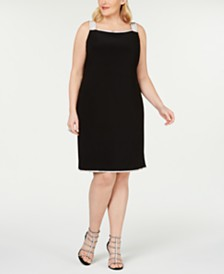 MSK Plus Size Rhinestone-Detailed Sheath Dress