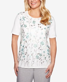 Alfred Dunner Versailles Vine-Embroidered Sweater