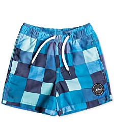 "Quiksilver Little Boys Checkered 14"" Swim Trunks"