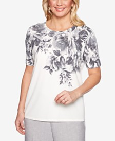 Alfred Dunner Versailles Floral-Print Sweater