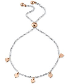Unwritten Heart Charm Adjustable Bolo Bracelet in Sterling Silver & Rose Gold-Flash Plated Sterling Silver