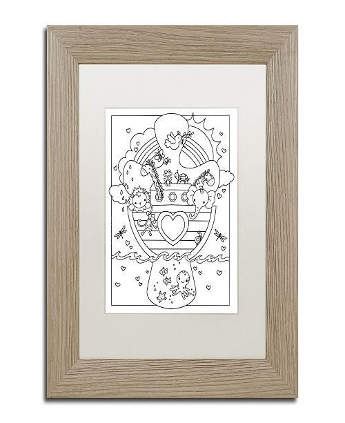 "Trademark Global Jennifer Nilsson Noahs Ark Matted Framed Art - 11"" x 14"" x 0.5"""