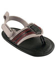 Luvable Friends Baby Boy Sandal, Black, 0-18 Months