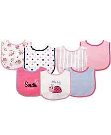 Luvable Friends Drooler Bibs with Waterproof Back, 7-Pack, One Size