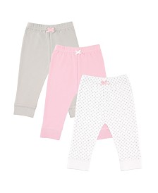 Luvable Friends Tapered Ankle Pants, 3-Pack, Pink,Gray, 2T-5T