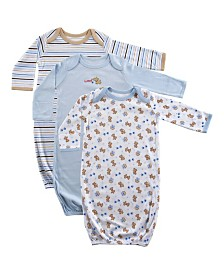Luvable Friends Sleep Gowns, 3-Pack, 0-6 Months
