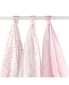 Hudson Baby Muslin Swaddle Blankets, 3-Pack, One Size