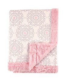 Girl Plush Blanket with Plush Binding and Back, One Size