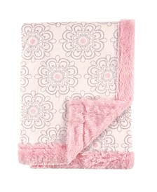 Hudson Baby Plush Blanket with Furry Binding and Back, One Size