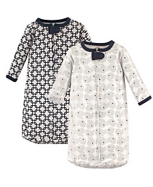 Hudson Baby Long Sleeve Cotton Sleeping Bag, 2-Pack, 0-3 Months