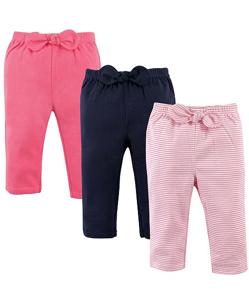 Hudson Baby Baby Waist Bow Pants, 3-Pack, 0-24 Months