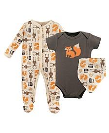Sleep and Play, Bodysuits and Bandana Bibs, 3-Piece Set, 0-9 Months