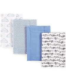 Hudson Baby Flannel Burp Cloth, 4-Pack, One Size