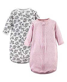 Hudson Baby Long-Sleeve Cotton Sleeping Sack, 2-Pack, 0-12 Months