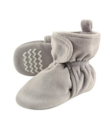 Velour Scooties with Non Skid Bottom, Gray, 0-24 Months