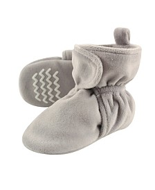 Hudson Baby Velour Scooties with Non Skid Bottom, Gray, 0-24 Months
