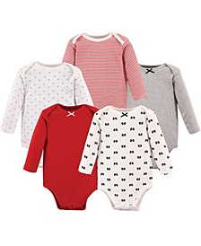 Boys and Girls Fire Truck Long-Sleeve Bodysuits, Pack of 5