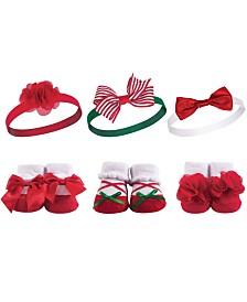 Hudson Baby Headbands and Socks Giftset, 6-Piece Set, 0-9 Months