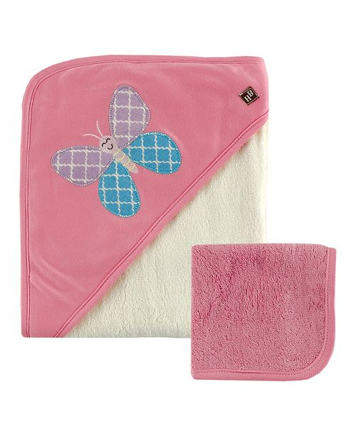 Hudson Baby Bamboo Hooded Bath Towel with Washcloths, Pink Butterfly, One Size
