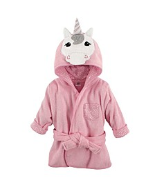 Hudson Baby Animal Face Hooded Bath Robe, 0-9 Months