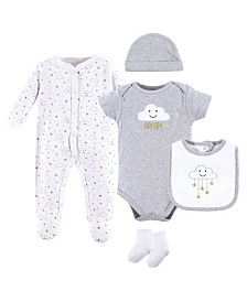 Hudson Baby Sleeper, Bodysuits, Bibs, Cap and Socks Set, 5-Piece, 0-9 Months