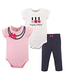 Bodysuits and Pants, 3-Piece Set, 0-24 Months