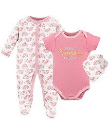 Luvable Friends Sleep and Play, Bodysuits and Bandana Bibs, 3-Piece Set, 0-9Months