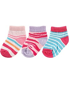 Luvable Friends No Show Socks, 3-Pack, Pink Zebra, 6-24 Months