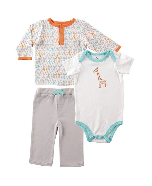 Baby Vision Yoga Sprout Long Sleeve Tee Top, Pants, and Bodysuits Set, 0-24 Months