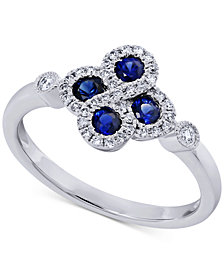 Sapphire (1/3 ct. t.w.) & Diamond (1/5 ct. t.w.) Ring in 14k White Gold