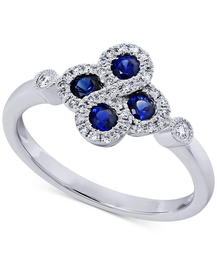 Macy's - Sapphire (1/3 ct. t.w.) & Diamond (1/5 ct. t.w.) Ring in 14k White Gold