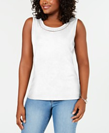 Karen Scott Studded-Neck Sleeveless Top, Created for Macy's