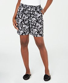 Karen Scott Printed Drawstring Shorts, Created for Macy's
