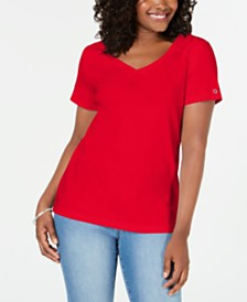 Karen Scott V-Neck Cotton Top, Created for Macy's