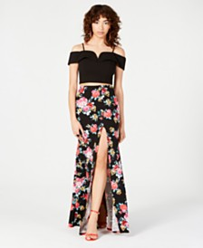 B Darlin Juniors' 2-Pc. Off-The-Shoulder & Floral-Print Gown