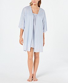 Embroidered Woven Cotton Chemise Nightgown and Wrap Robe Set, Created for Macy's