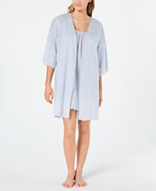 Charter Club Embroidered Woven Cotton Chemise Nightgown and Wrap Robe Set, Created for Macy's