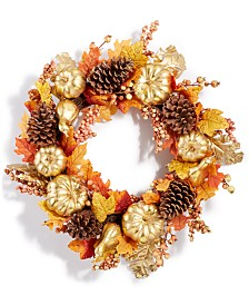 Martha Stewart Collection Harvest Gilded Pumpkin Artificial Wreath, Created for Macy's