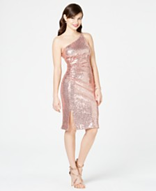 Vince Camuto Sequined One-Shoulder Sheath Dress