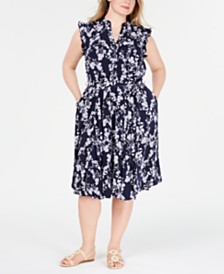 Charter Club Plus Size Belted Floral-Print Dress, Created for Macy's