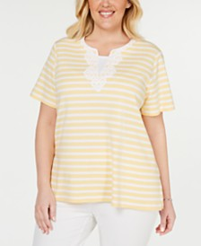 Alfred Dunner Plus Size Endless Weekend Striped Top