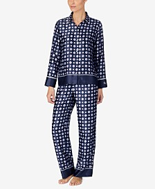 Lauren Ralph Lauren Printed Satin Top and Pajama Pants Set